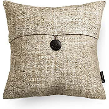 Amazon PHANTOSCOPE Decorative Beige Button Linen Serious Throw Gorgeous Decorative Pillows With Buttons