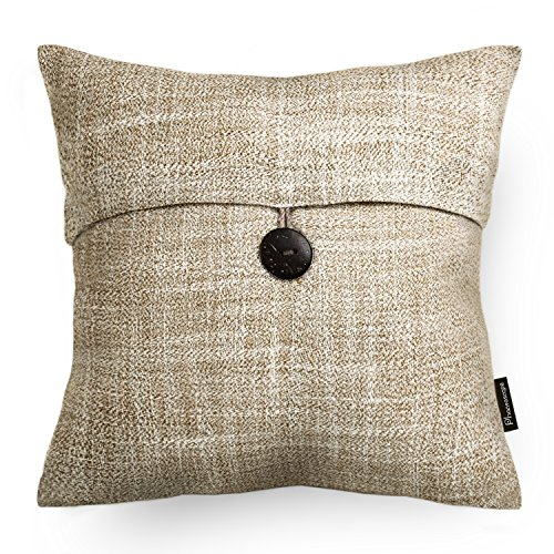 Buy PHANTOSCOPE Set of 2 Button Beige Linen Decorative Throw Pillow Case Cushion Cover 18