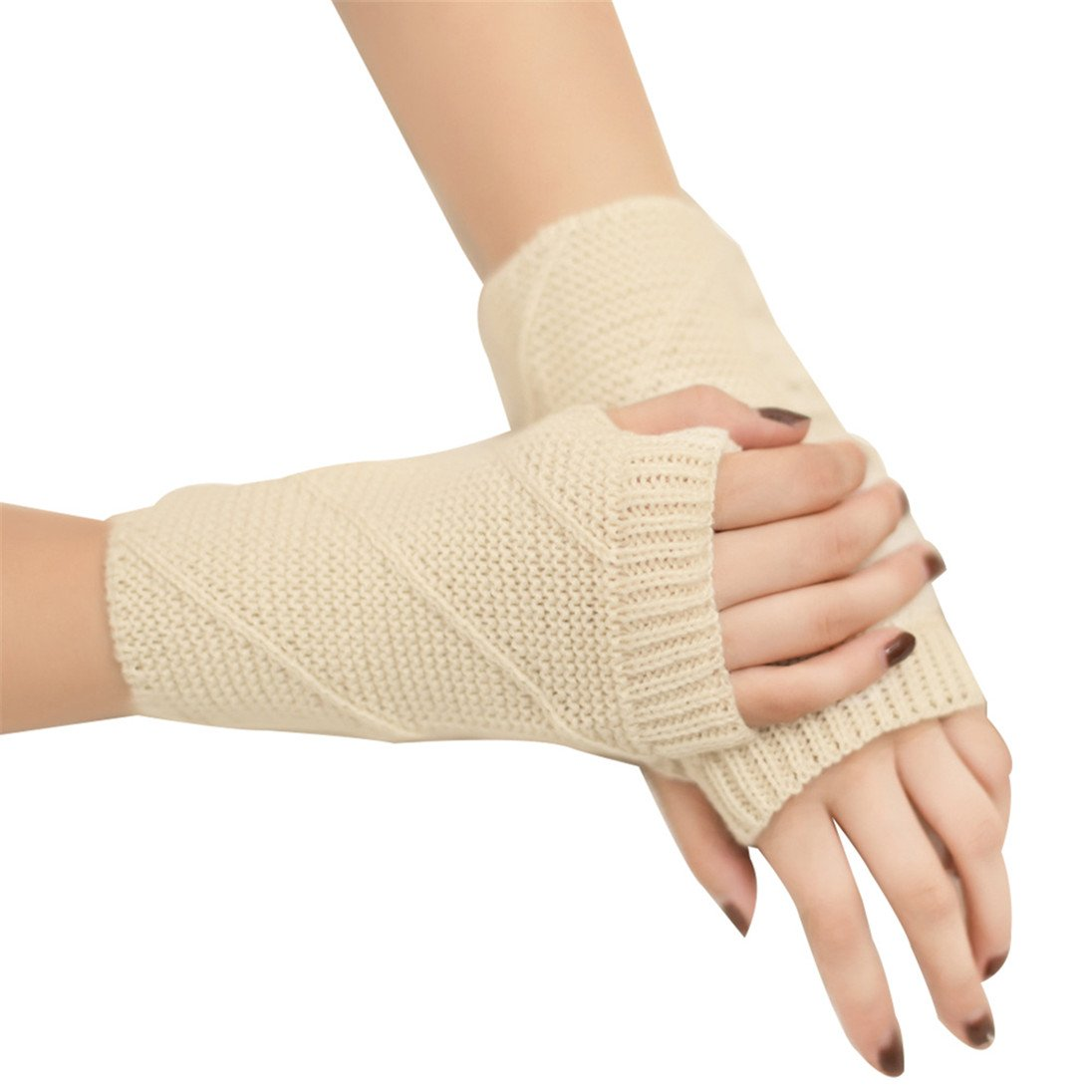 Alamana Winter Warm Keeper Knitted Mitten Twilled Solid Color Half-finger Women Gloves size One size (Light Beige)