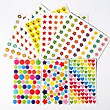 3200 Kids Reward Stickers Teacher Stickers for Students Incentive Chart Classroom Teaching Supplies Cute Colorful Stars Hearts Smiley Dots Faces Emoticons Thumbs Flowers Sunflowers 8 Design Themes