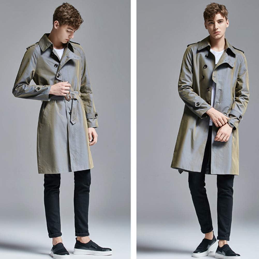 OJKYK - Cappotto trench da uomo monopetto da bavero, mezza lunghezza, antivento, con cintura per autunno e primavera Grigio uwwqZ