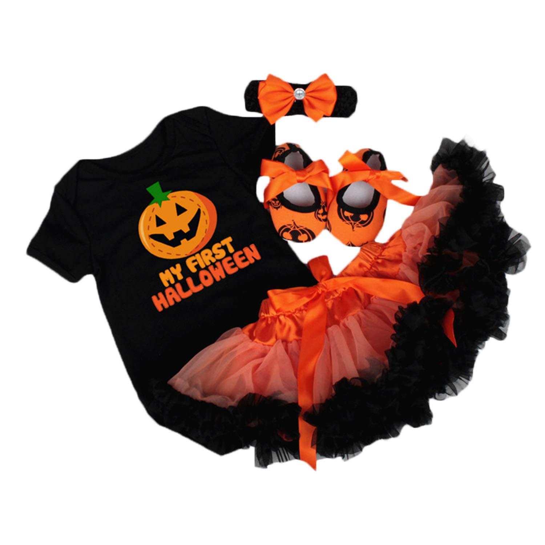 BabyPreg Infant Girls Halloween Pumpkin Outfits, Baby Thanksgiving Romper Skirt-4pcs