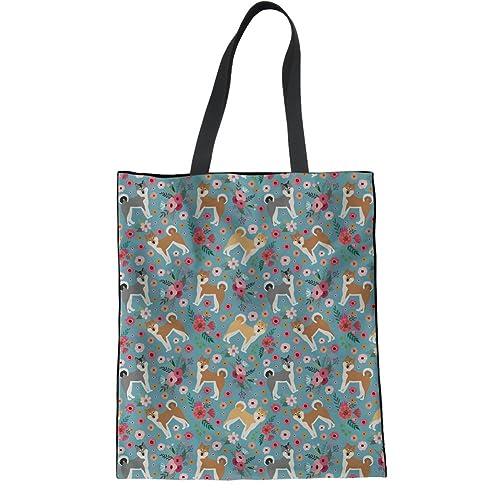 df193a83c74d Amazon.com  HUGS IDEA Flower Akita Print Shoulder Bag Linen Tote Bag Women  Fashion Travel Shopping Handbags  Clothing