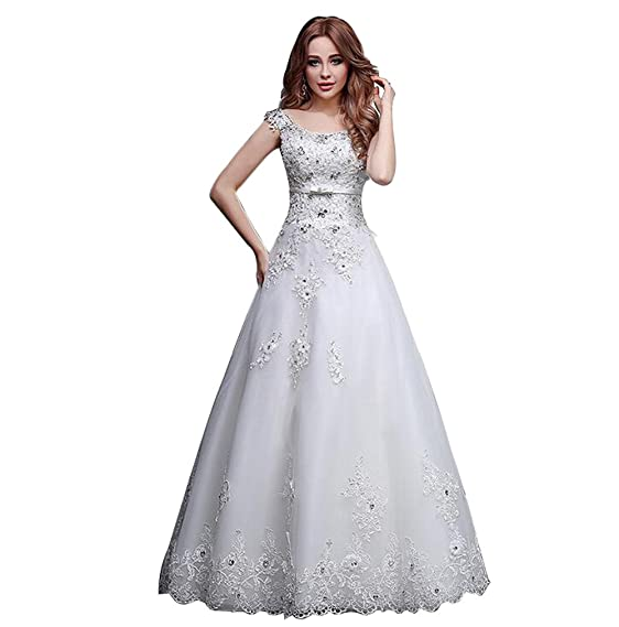 JJ-GOGO Sleeveless Floor Length Ball Gowns Lace Wedding Dresses with ...