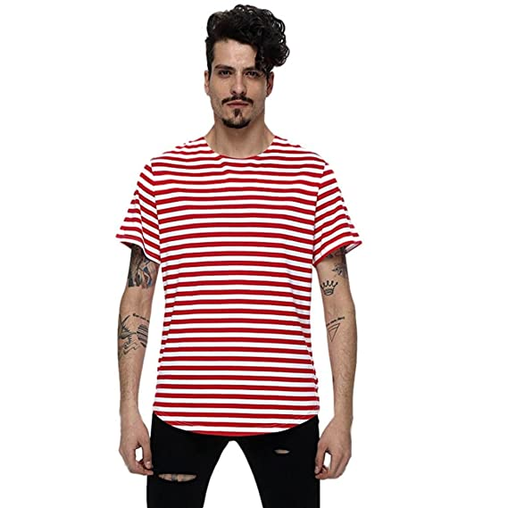 60801793b6 LANDFOX Los Hombres Sueltan Rayas Cortas Manga Camiseta de impresión  Agujero Casual Blusa Tops (XXL