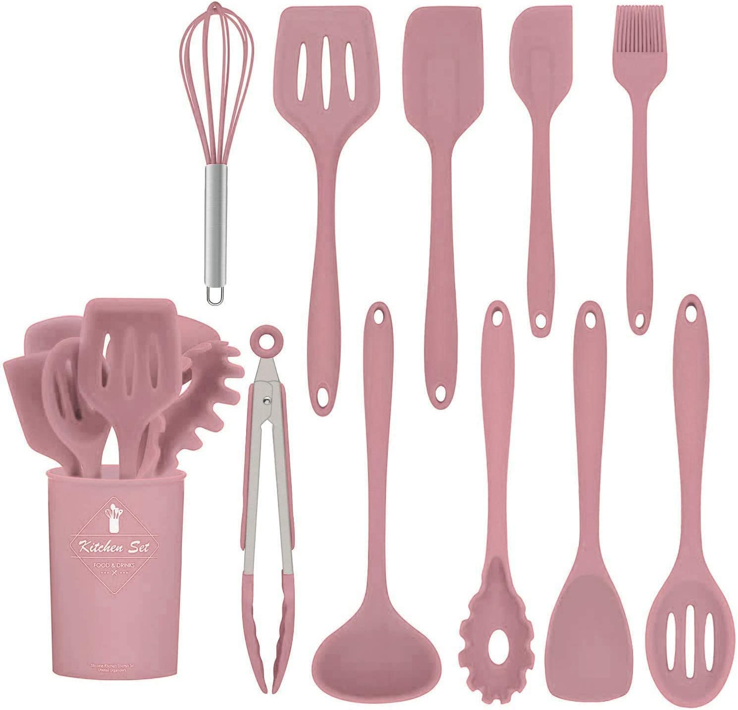 K /& G Kitchen Utensils Silicone Heat-Resistant Non-Stick Silicone Cookware 11-Piece Pink Spatula Set,Turner Slotted,Spoon Brush Spatula Tongs,Pasta Fork and Holder Soup Ladle Whisk Turner