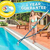 "U.S. Pool Supply 14"" Weighted Butterfly Pool Vacuum Head with Swivel Hose Connection and EZ Clip Handle - Connect 1-1/4"" or 1-1/2"" Hose - Removes Debris, Cleans Floors - Safe for Vinyl Lined Pools"