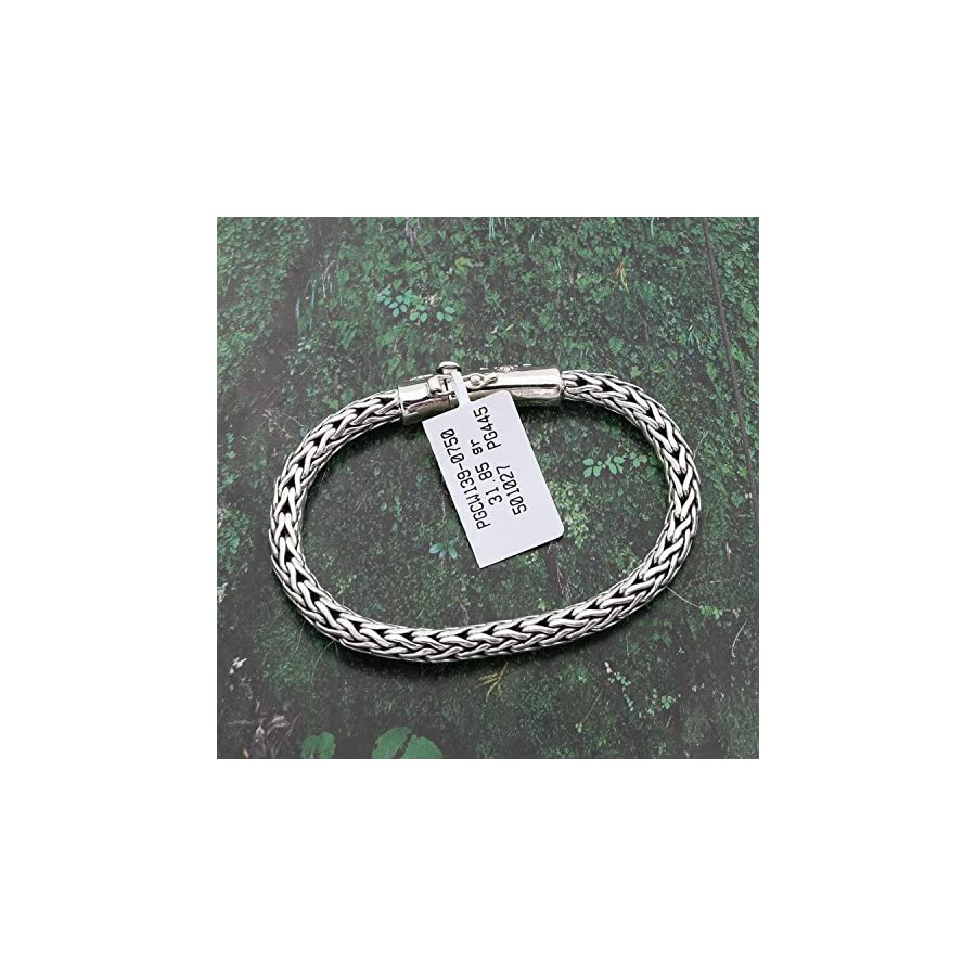 Solid Sterling Silver Rhodium Plated Round Woven Bracelet