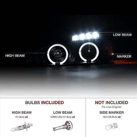 Black Halo Headlamp 04-08 Pontiac Grand Prix GT1 GT2 GTP BUILT-IN LED LOW BEAM