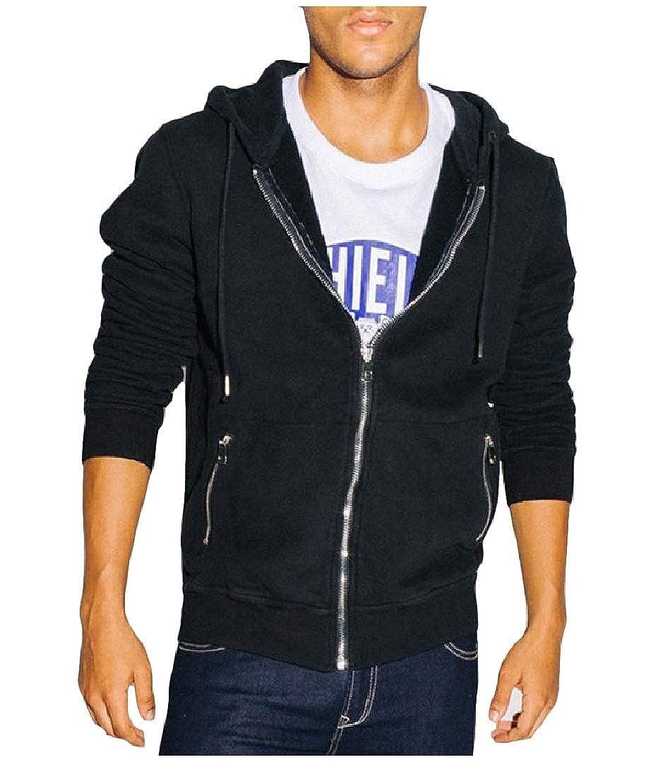 Abetteric Mens Hood Zips Solid Big Pockets Long-Sleeve Leisure Sweatshirts Coat