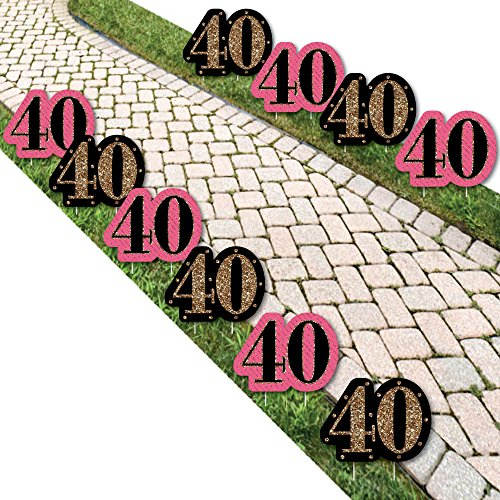 Chic 40th Birthday – Pink, Black and Gold Lawn Decorations – Outdoor Birthday Party Yard Decorations – 10 Piece