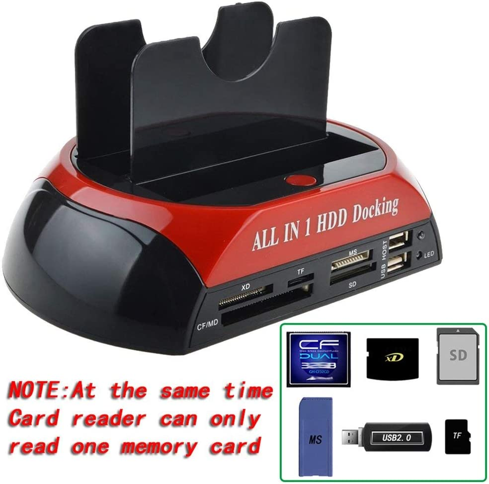 Jullynice Multi-Function 2.5//3.5-inch IDE+SATA Hard Drive Base Hard Drive Dock Station High Speed with Card Reader with LED Light