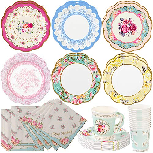 Talking Tables Truly Scrumptious Tea Party Bundle | Vintage Floral Paper Tea Cups and Saucer Sets 12 Count | Happy Birthday Floral Paper Napkins 20 Pack | Vintage Floral Small Paper Plates 12 Count