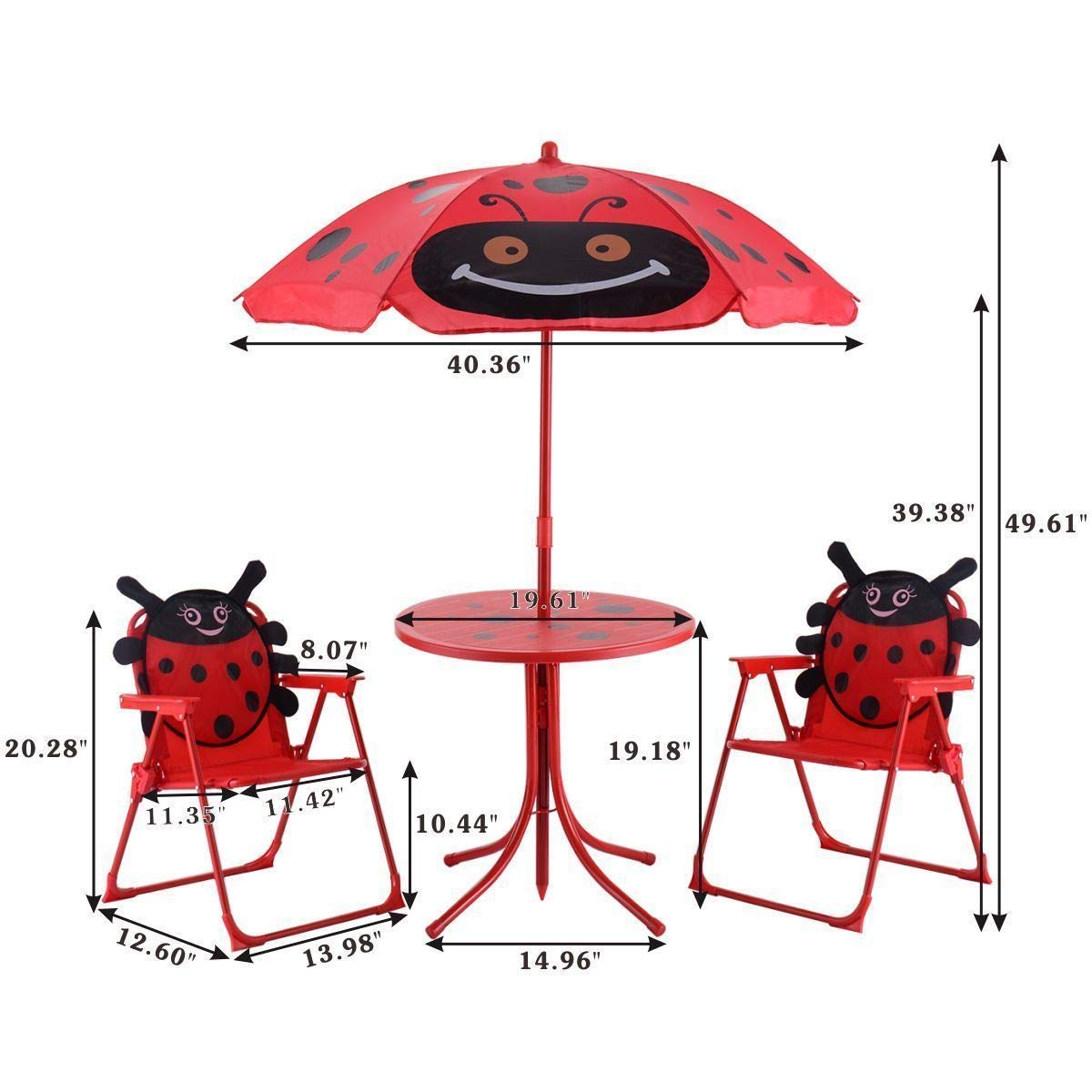 Set of 3 Red Beetle Ladybugs Pattern Kid Chair+Table+Umbrella Patio Garden Backyard Front yard Children Furniture Utility Kid room Foldable Easy Storage Light Weight Trip Party Event Picnic Home by Prettyshop4246 (Image #5)
