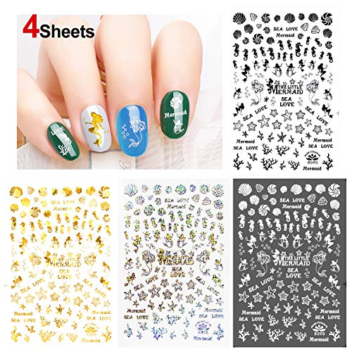 Konsait Mermaid Nail Stickers Decals (350+Designs), 3D Nail Art Stickers Self-adhesive Nail Tips Decorations for Kids Women Girls Gift Mermaid Birthday Party Bag Filler ()