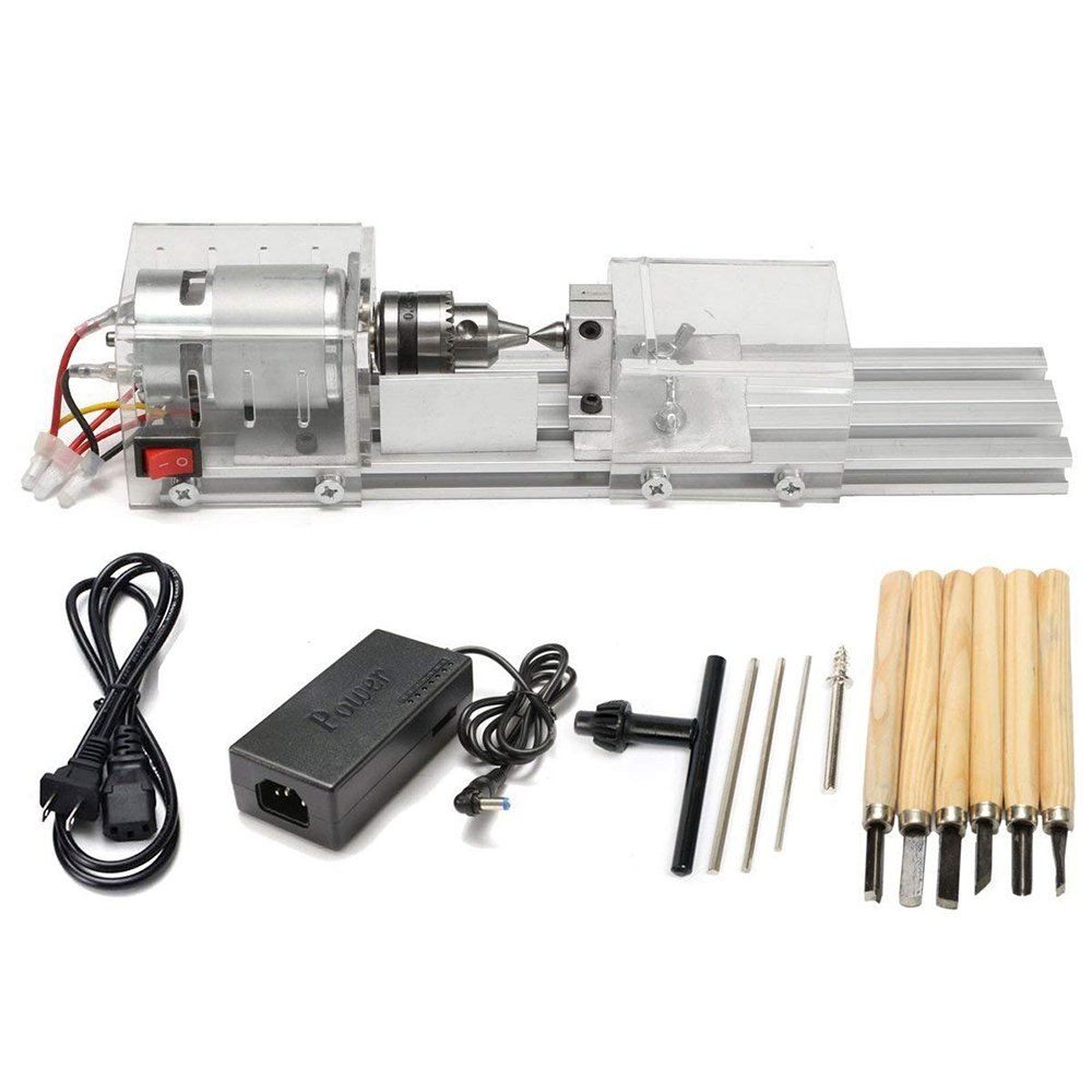 HUKOER Mini Lathe Beads Polisher Machine CNC Machining for Table Woodworking Wood DIY Tool Lathe