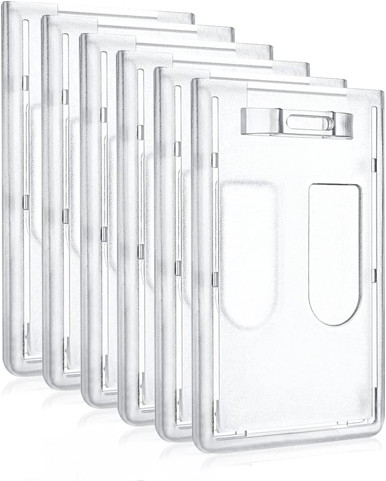 URBEST Double Card ID Slot Vertical Hard Plastic Double-Sided Badge Holders with Thumb Slots 6 Pack