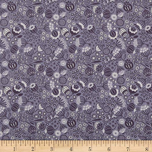 Lewis & Irene Winter Garden Seed Heads Purple Fabric by The Yard