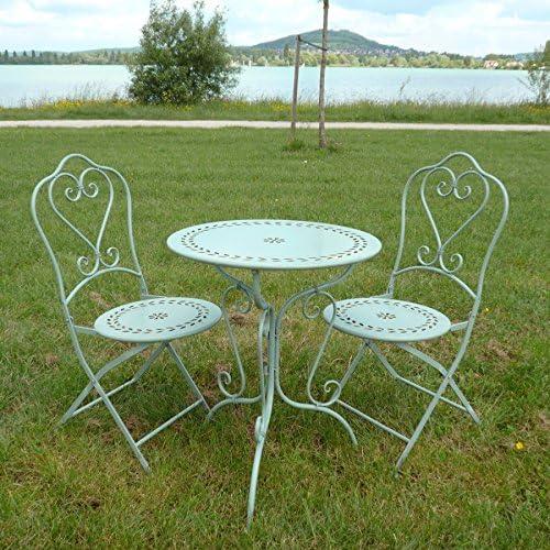 HTdeco - Conjunto de Bistro en hierro forjado, 1 mesa, 2 sillas: Amazon.es: Jardín