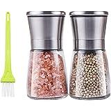 JoalGfda Juego de molinillo de sal y pimienta, molinillo de sal marina de cerámica ajustable y molinillo de pimienta de acero
