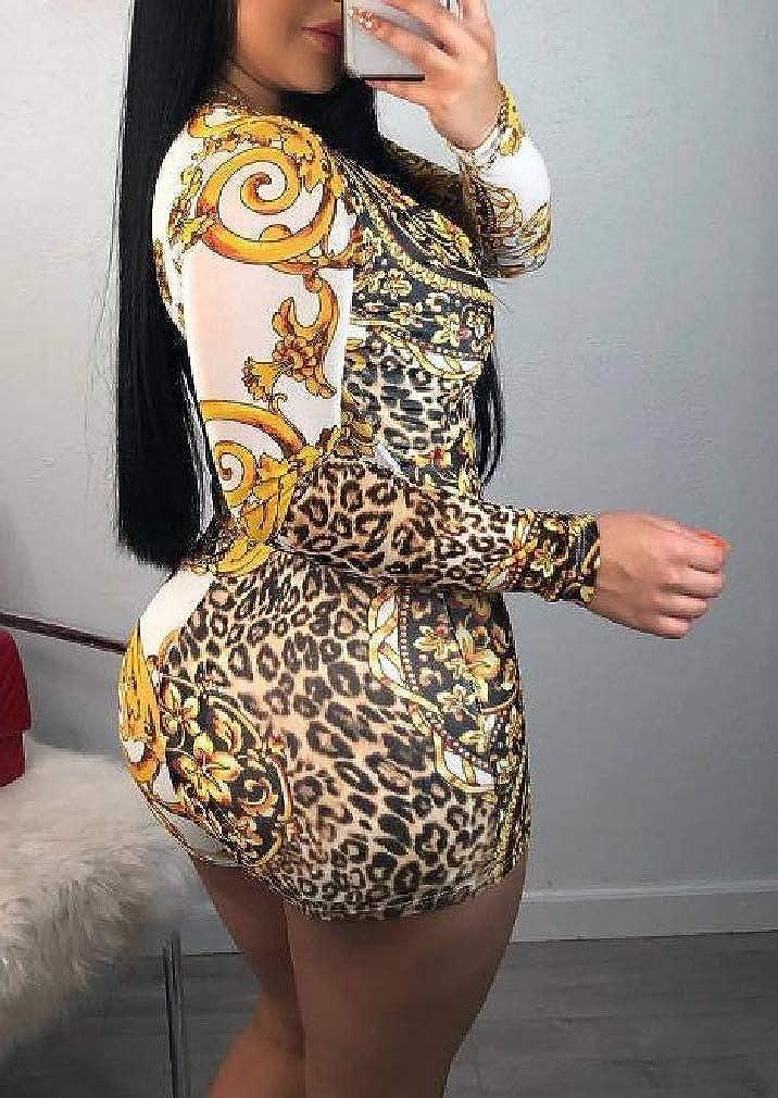 Tralounry Womens Gold Floral Long-Sleeve V Neck Short Jumpsuit