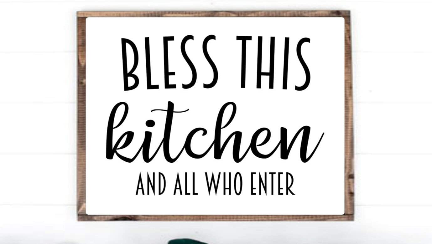 43LenaJon Bless This Kitchen and All Who Enter Rustic Wood Wall Sign,Hanging Wood Sign Decor for Garden,Personalized Wooden Farmhouse Welcome Label with Frame
