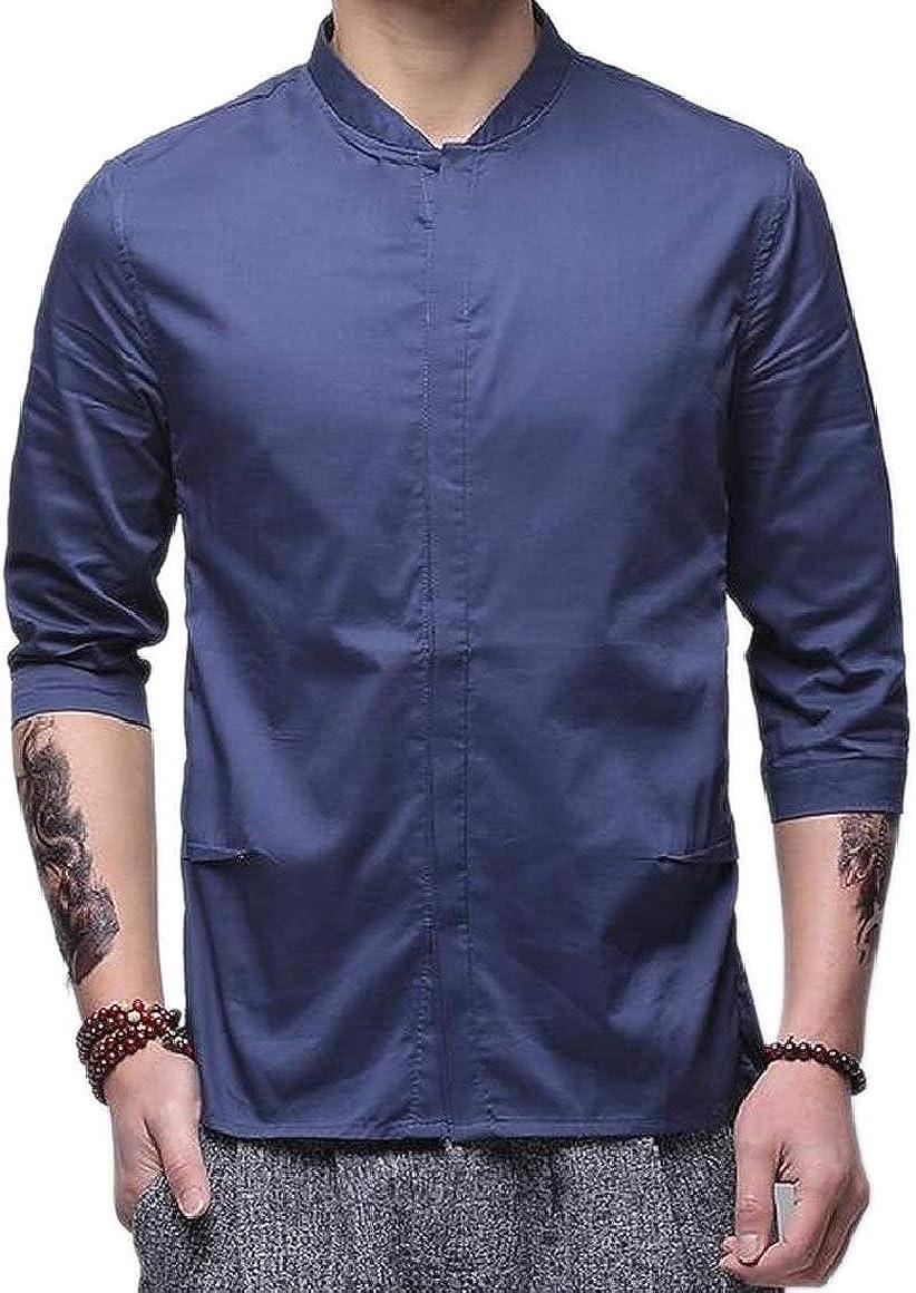 HTOOHTOOH Men Fashion Linen Cotton Solid Color Button Down Slim Fit Shirts