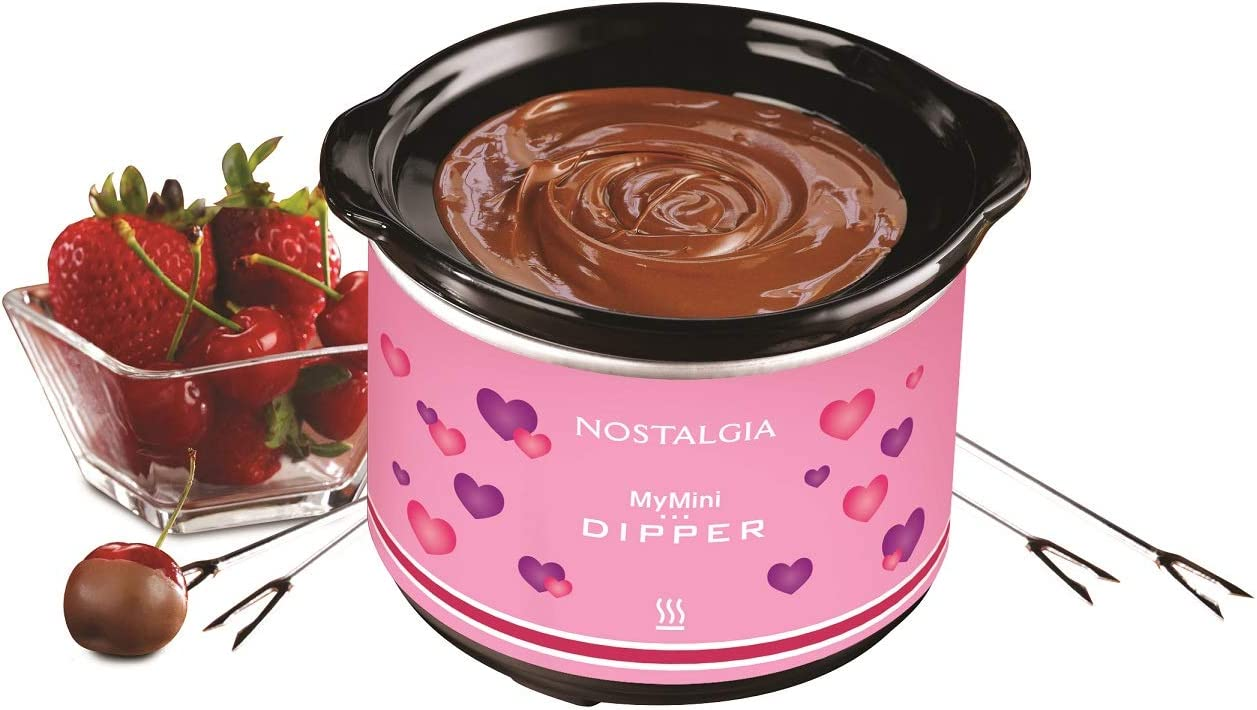 Pink Nostalgia MyMini Chocolate dipping pot with dipping forks Valentines gift fondue pot