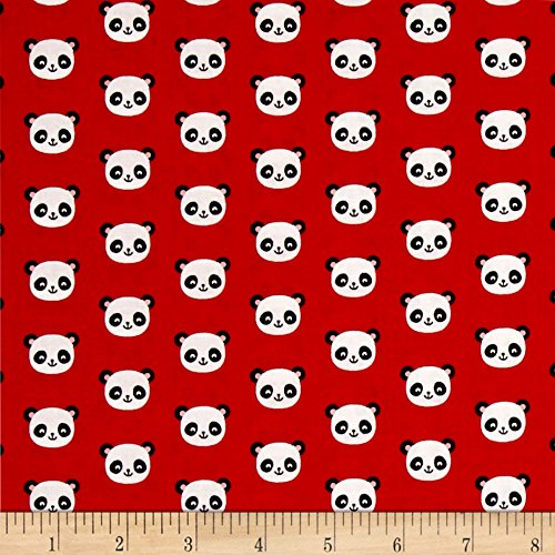 Robert Kaufman Panda - Robert Kaufman Kaufman Urban Zoology Minis Pandas Red Fabric by The Yard