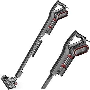 iTvanila Vacuum Cleaner, Stick Bagless Vacuum Cleaner, 2 in 1 15KPa 600W Upright Handheld Vacuum, Corded Pet Hepa Vacuum Cleaner for Hard Floor Cleaning (Renewed)