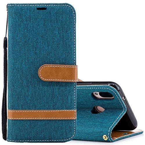 ZITEZHAI-Fashion case for Huawei P20 Lite & nova 3e Denim Texture TPU + PU Horizontal Flip Leather Case with Holder & Card Slots & Wallet & Lanyard, (Color : Green)]()