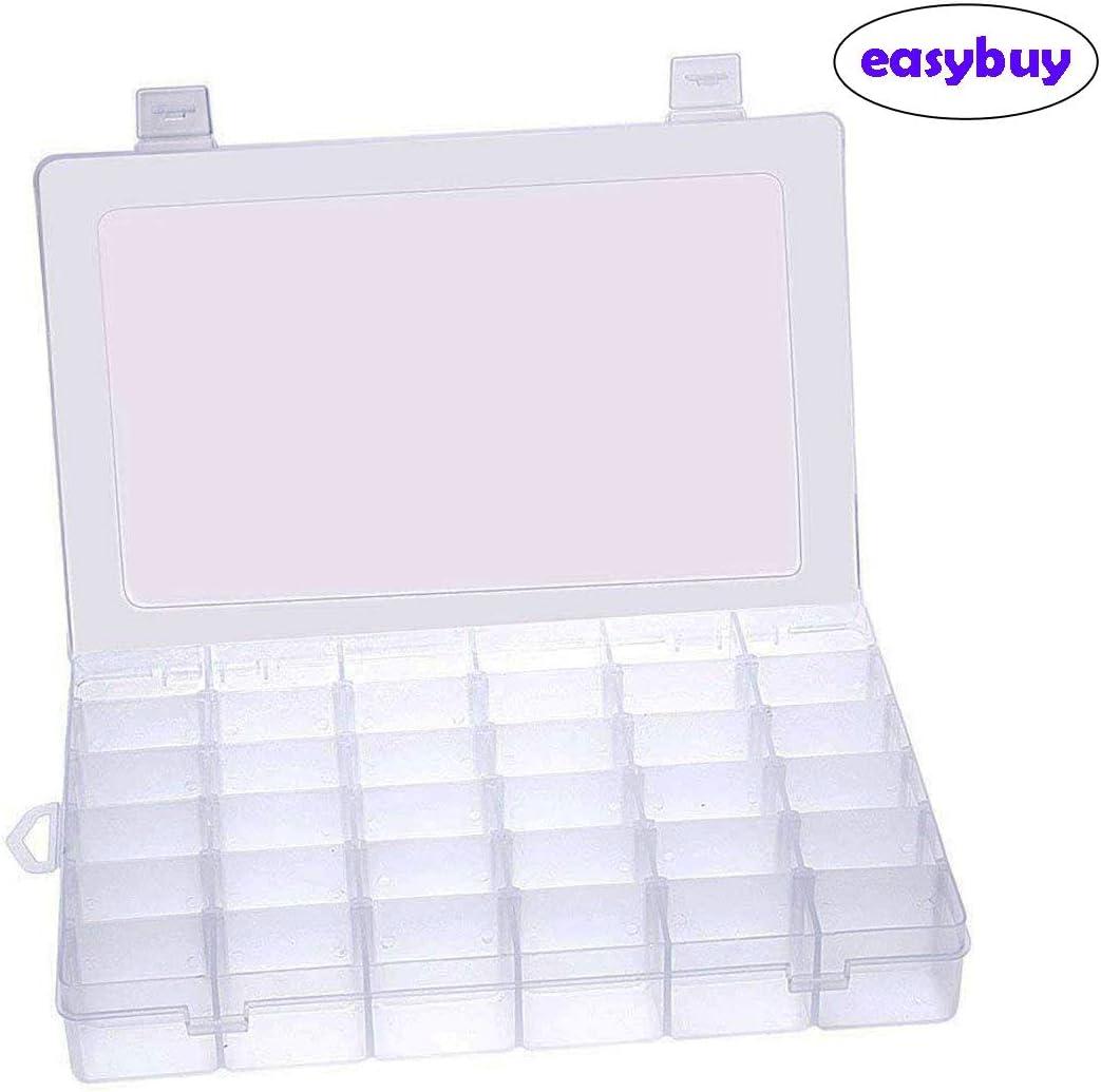 Caja de almacenamiento de 36 compartimentos para manualidades, caja de almacenamiento de cuentas organizadora de joyería transparente y ajustable.: Amazon.es: Bricolaje y herramientas