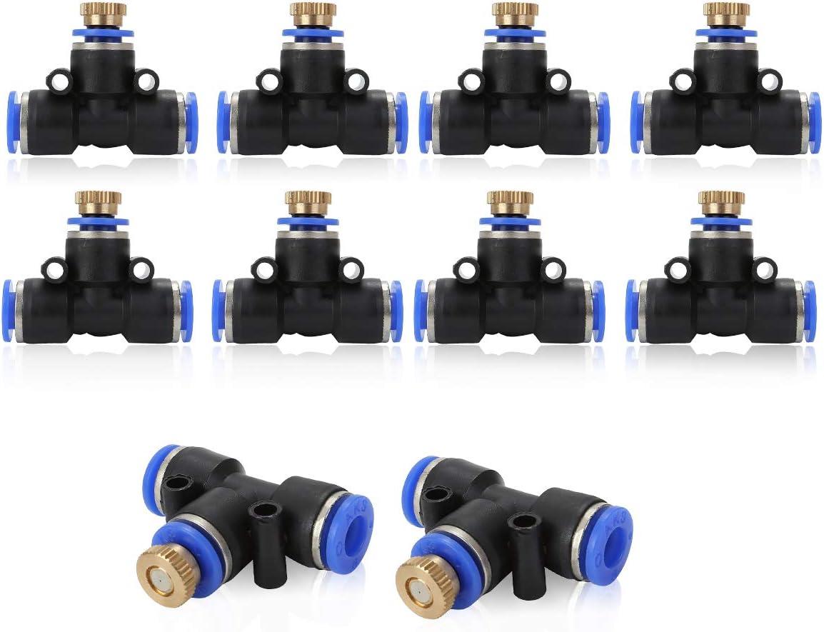 Juego de Conectores en T para tuber/ías de Agua 5//10 Unidades, lat/ón, Sistema de riego, pulverizador, Conector en T, Sistema de refrigeraci/ón, Accesorios Schwarz-10 St/ücke ACBungji