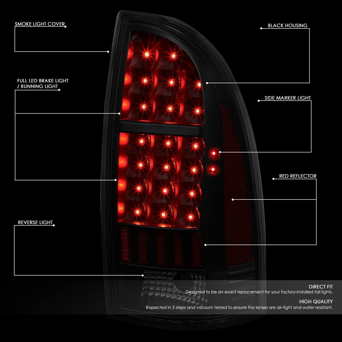for 05-15 Tacoma DNA MOTORING Black TL-TTAC05-LED-3D-BK-SM Pair 3D LED Bar Tail Light Dark Smoked
