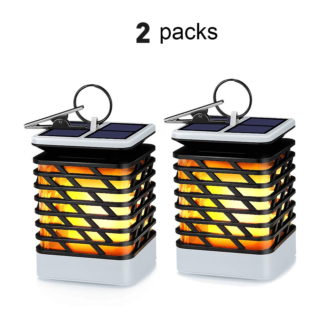 KORJO Solar Lights Outdoor Led Flickering Flame Torch Lights Solar Powered Hanging Lanterns Decorative Landscape Lights for Pathway Garden Deck Holiday Party, Auto On/Off, Waterproof [2 Pack] by KORJO