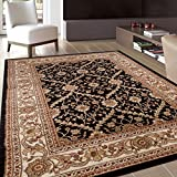 Cheap Rugshop Oriental Design Floral Area Rug, 5′ 3″ x 7′ 3″, Black