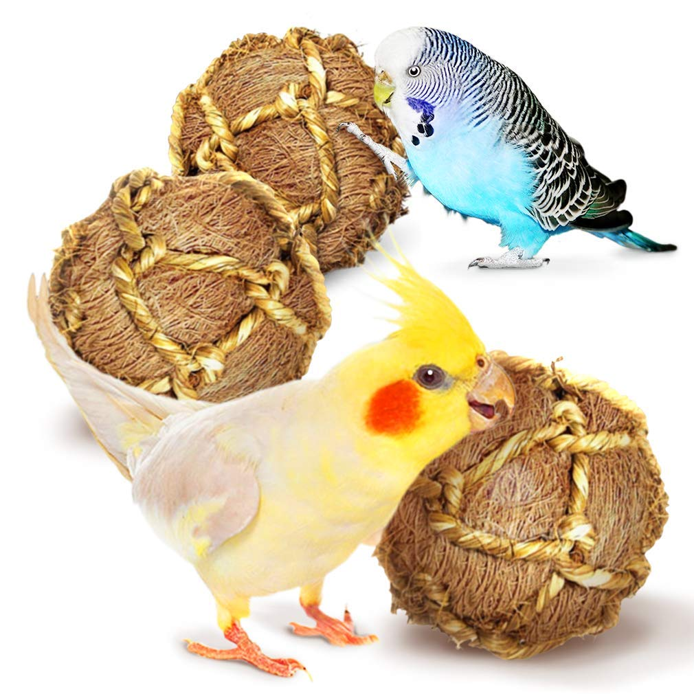 Teeth Floss Ball Floss Ball Improves Dental Health Boredom Buster and Stress Reliever Ball Improves Dental Health Chew Toy SunGrow Coco Fiber Rope Ball for Parrots