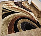 Shag Shaggy Fuzzy Fluffy Fuzzy Soft Plush High Pile Area Rug Carpet Contemporary Modern Living Room Bedroom Decorative Designer 5×7 Brown Beige Ivory Two Tone Color Sale ( Signature New 70 Brown ) Review