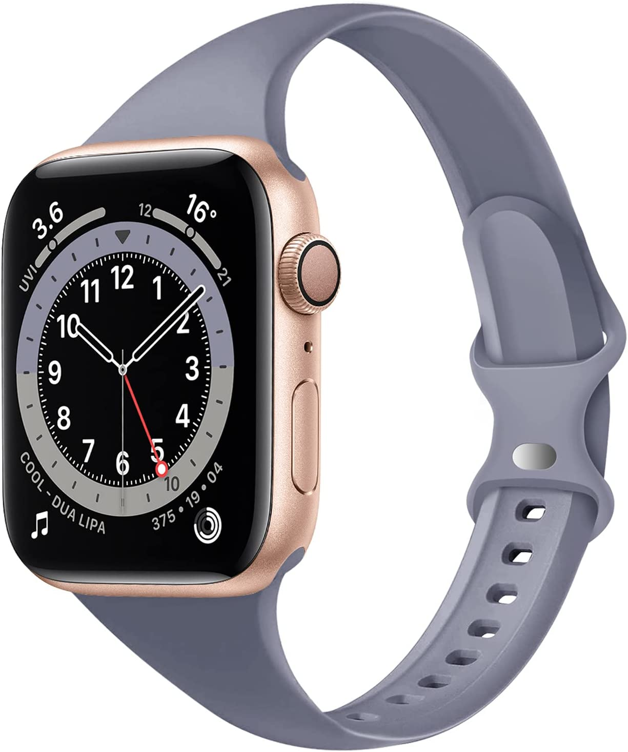 Acrbiutu Bands Compatible with Apple Watch 38mm 40mm 42mm 44mm, Slim Thin Narrow Replacement Silicone Sport Strap for iWatch SE Series 1/2/3/4/5/6 Women Men, Lavender Gray 38mm/40mm