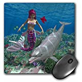 3dRose LLC 8 x 8 x 0.25 Inches Mouse Pad, A Mermaid Swim With A Dolphin in The Ocean. - (mp_181776_1)