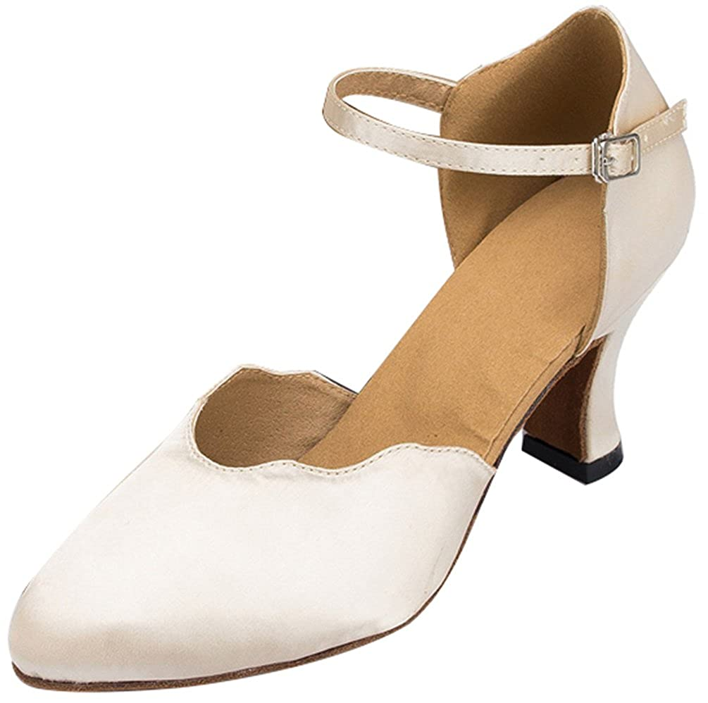 Ivory(indoor Sole) 7.5 US(2.8IN) Abby Womens Block Heel Round Toe Ankle Strap Ballroom Dance shoes Salsa Latin