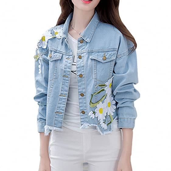 New Fashion Arrival Womens Embroidery Denim Jackets Vintage Casual Long Sleeve Loose Coat Female Jean Jacket