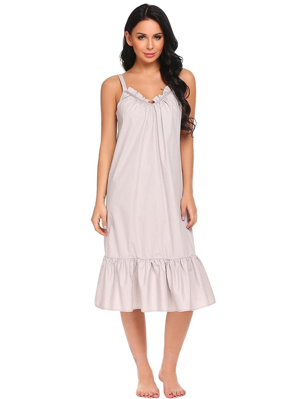 9eb8b2c147 Goldenfox Women Cotton Sleeveless Nightgown Ruffles Nightdress Victorian  Long Sleepwear S-XXL at Amazon Women s Clothing store