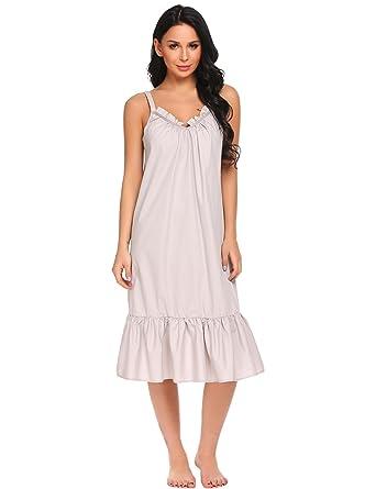 e442cff3c2 Goldenfox Women V-Neck Spaghetti Strap Ruffles Solid Sleep Dress (Light  Gray