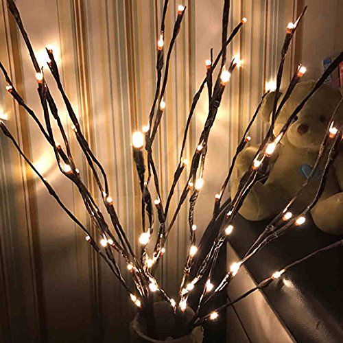 Autohigh 3 Pack Warm White Lighted Twig Branches 60 LED Lights Artificial Tree Willow Branches Lamp for Home Holiday Party Decoration Decor Battery Operated (Faux Florals Holiday)