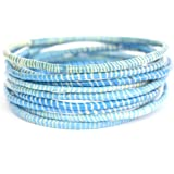 10 Light Blue and White Recycled Flip Flop Bracelets Hand Made in Africa