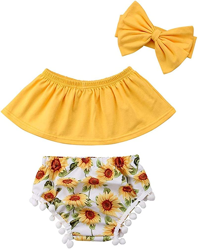 Baby Girls Off Shoulder Top T Shirt Sunflower Floral Print Shorts Headband Outfits Set Yellow