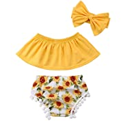 Baby Girls Off Shoulder Top T Shirt Sunflower Floral Print Shorts Headband Outfits Set Yellow (Yellow, 80 (6-12Months))