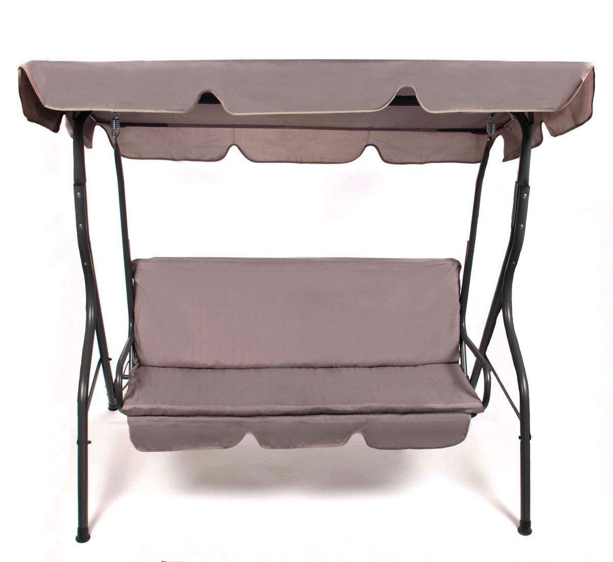 Hollywoodschaukel für 3 Personen (130 cm), Polster waschbar, Dachneigung verstellbar, grau/anthrazit, inkl. Schutzhülle