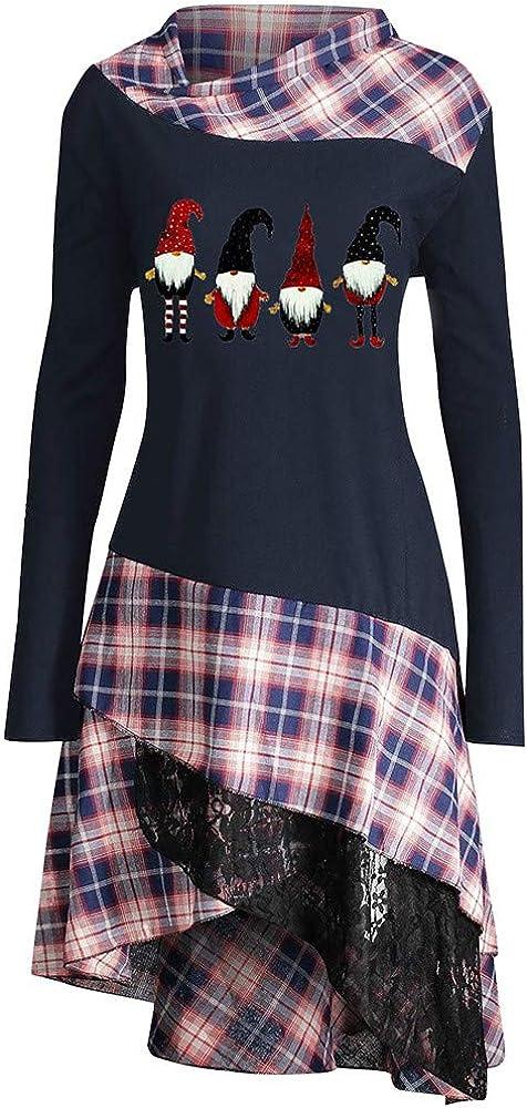HOUMENGO Camiseta de Manga Larga para Mujer Blusa De TúNica con Panel De Cuadros De Encaje Estampado Feliz Navidad para Mujer: Amazon.es: Ropa y accesorios
